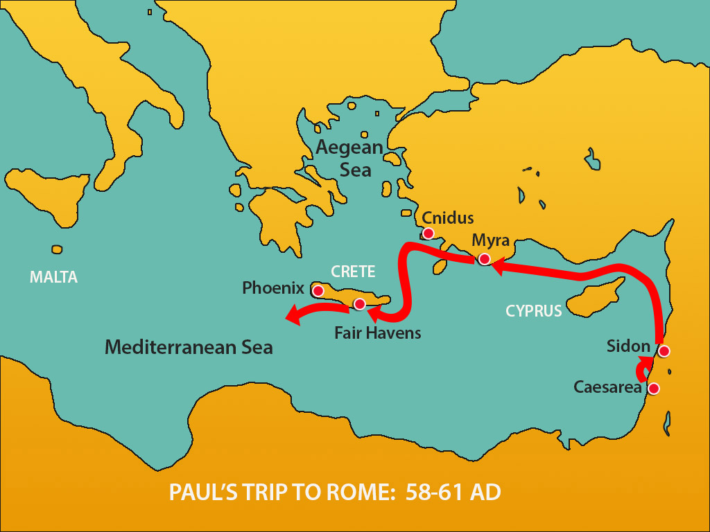 This map can be used in telling the story of Paul's Trip to Rome (and Shipwreck) Acts 27:1-28:16