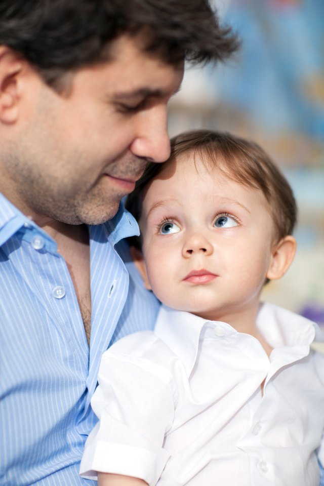 Lovely portrait of father and little son